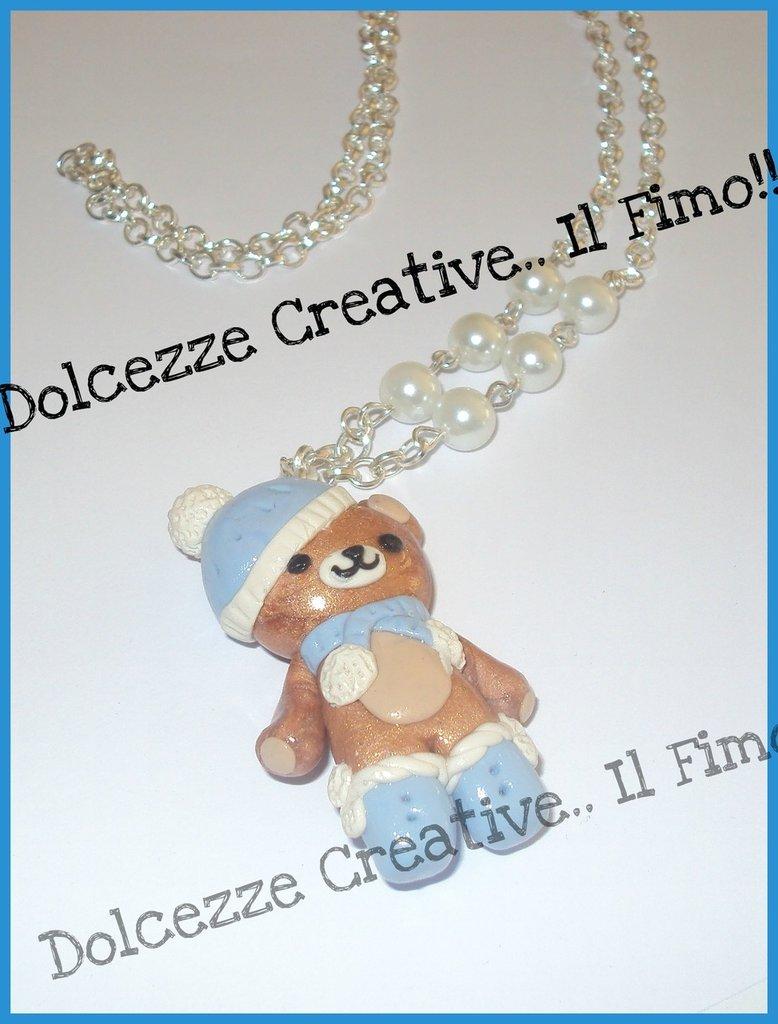 ★★SALDI Collana - I love winter - Rilakkuma - orsetto in fimo e cernit - idea regalo natale