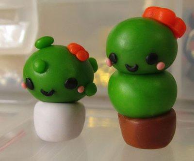 Cactus piantine in cernit