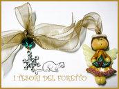Decorazione Albero ANGIOLETTO FUFUANGEL segnaposto fermatovagliolo chiudipacco fimo cernit idea regalo