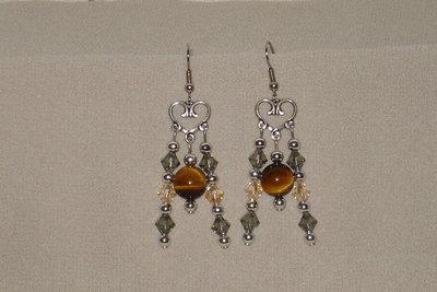 orecchini chandelier occhio di tigre