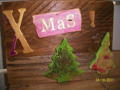 targhetta legno Xmas