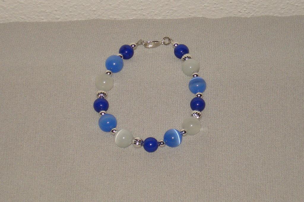 bracciale azzurro e blu