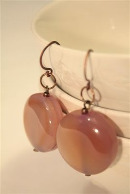 Vintage Peach Earrings - Orecchini in rame anticato e piedra dura