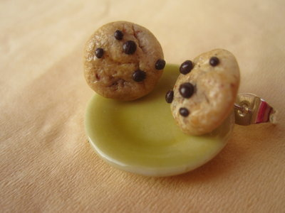 1/12 MINIATURE to wear - COOKIE earrings --- orecchini con BISCOTTO COOKIE