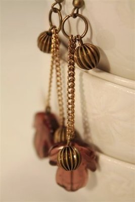 Acorns Earrings - Orecchini in bronzo con foglie in vetro