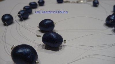 Collana cascata di perle blu