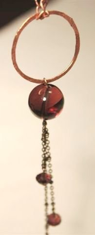 Cherry Necklace purple vintage glass and copper - Collana con perla in vetro