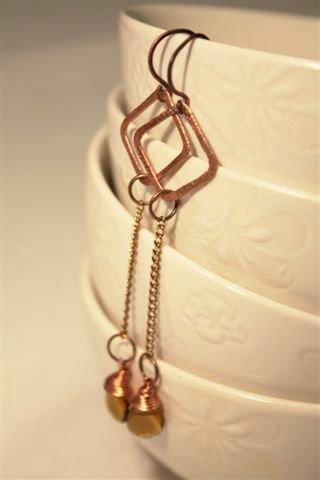 Squared Earrings Drops - Orecchini con gocce ambra