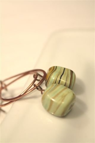 Candy Earrings - Orecchini in rame con perla lampwork czech