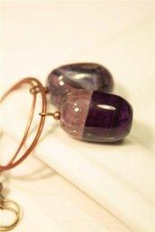 Violet GemStone Earrings - Orecchini in rame con pietre granitiche