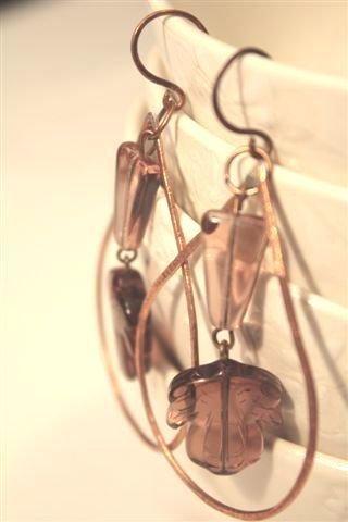 Drops and Leaves Earrings copper- Orecchini con gocce in rame e foglie
