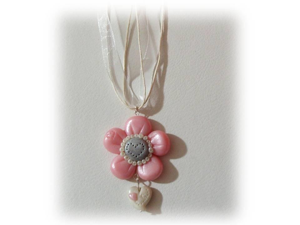 Collana fiore rosa con cuore- fimo