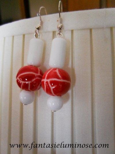 orecchini ceramica bianca  e rossa