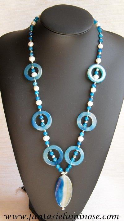 collana agata azzurra