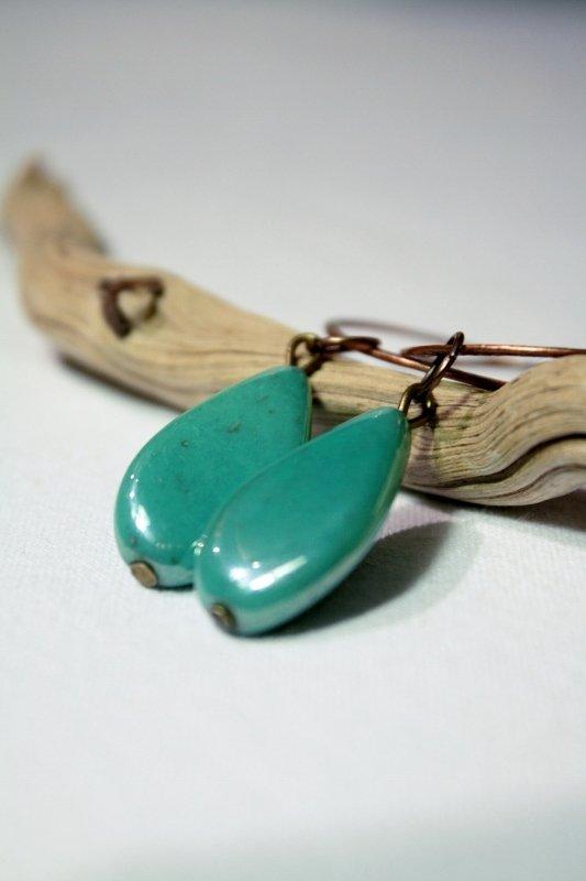 Swirl Earrings - Orecchini in rame con perle in vetro