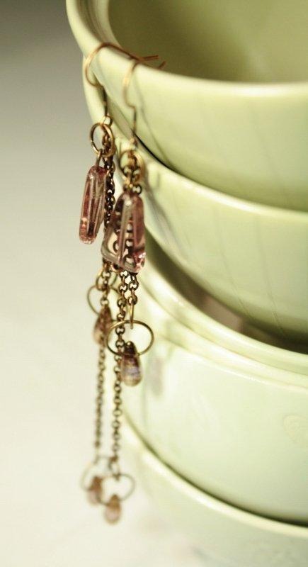 Lulu Earrings - Orecchini lunghi con gocce bronze plum