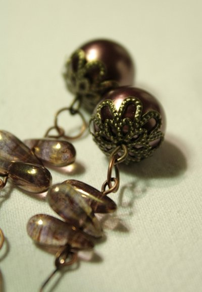 Purple Plum Vintage Earrings - Oecchini con perle e gocce in vetro Picasso Czech