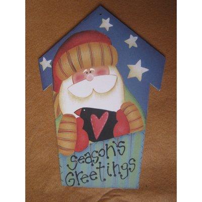 Casetta con Babbo Natale in legno