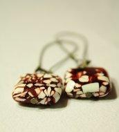 Nougat  Earrings - Orecchini con perle quadrate marmo