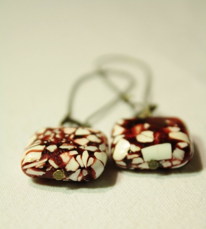 Nougat  Earrings - Orecchini con perle quadrate marmo