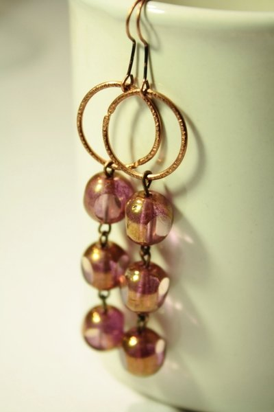 Giulia Earrings - Orecchini in rame con perle in vetro Czech