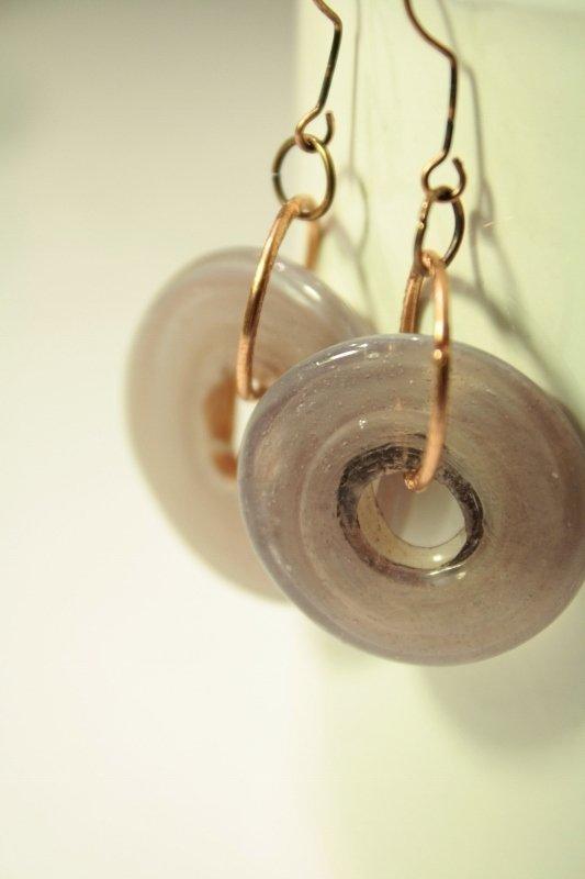 Rings lilacs Earrings - Orecchini con dischi in vetro egiziano
