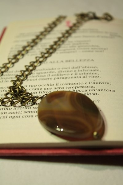 Gemstone Necklace - Collana catena in bronzo con pietra dura