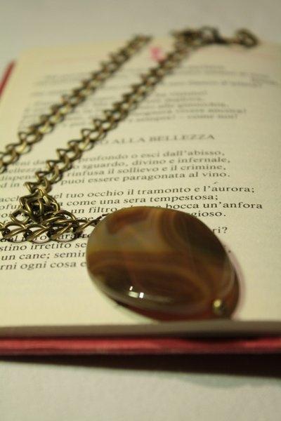 Gemstone Necklace - Collana catena in bronzo con pietra dura