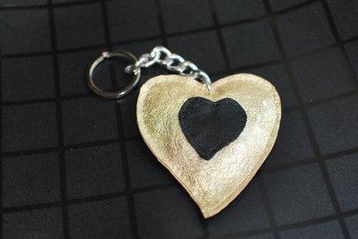 portachiavi vera pelle dorato a forma di cuore