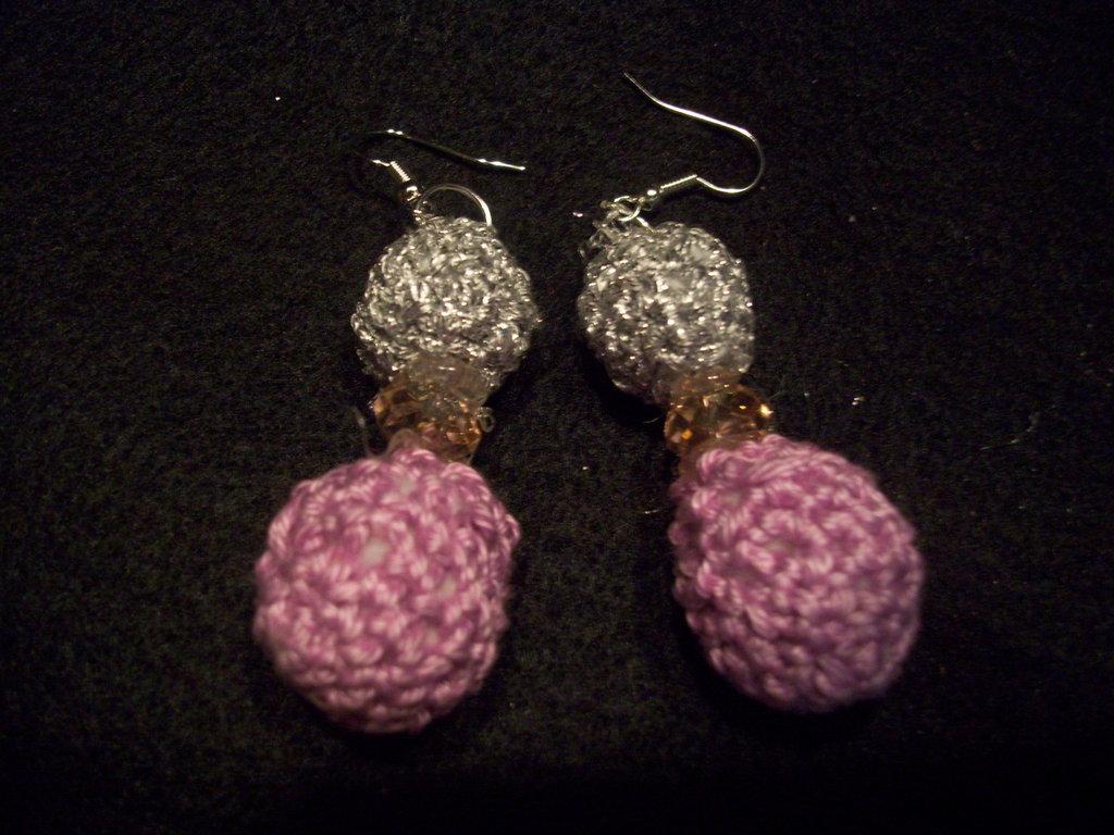 orecchini argento e rosa