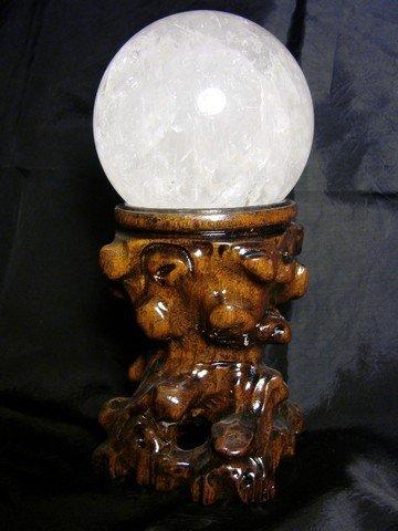 Sfera in Quarzo Ialino con Supporto in Legno (8,5 cm diametro) [800207]