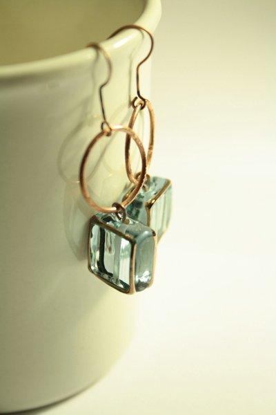 Blue Light Earrings - orecchini con quadrati in vetro di murano azzurri