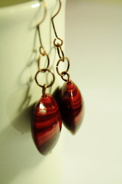 Dull Red Earrings - Orecchini con pastiglie in vetro di Murano