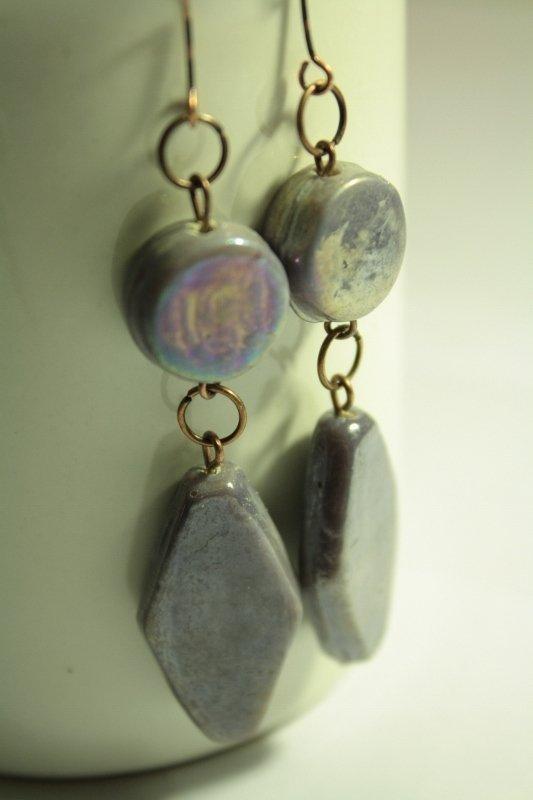 Pending Lilac - Orecchini in vetro perlato di Murano