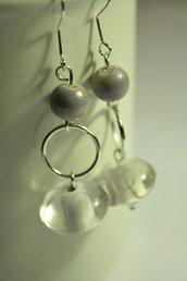 Bubbles Lilac Earrings - Orecchini con rondelle in vetro Murano