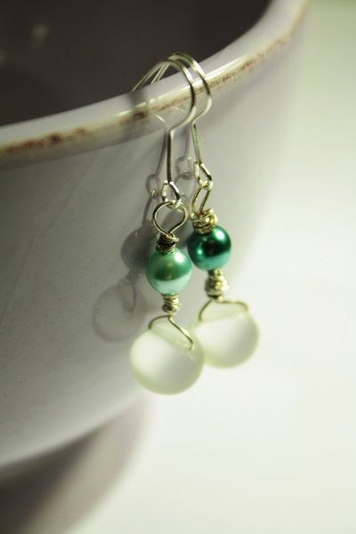 Little Drops Earrings - Orecchini in argento e vetro pressato