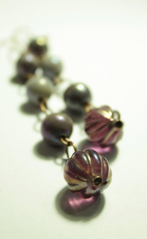 Violet Earrings - Orecchini con perle in vetro perlato