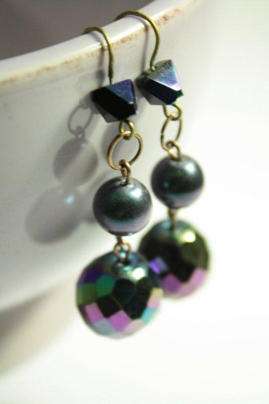 Disco earrings - Orecchini in vetro perlato sfaccettato