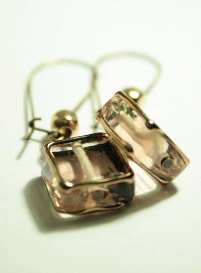 Cipria Earrings - Orecchini con quadrato in vetro e pepite in Oro rosa
