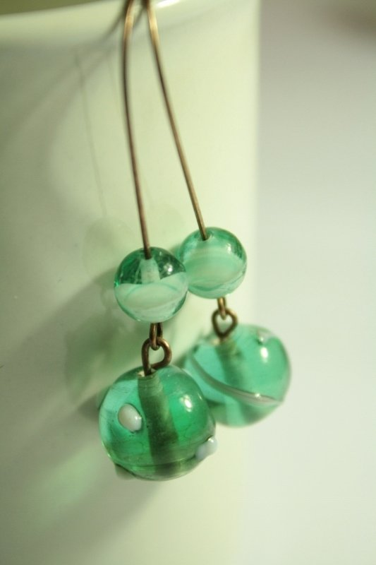 Balls Earrings - Orecchini in rame con perle in vetro murano