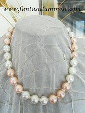 collana perle bianche e rosa