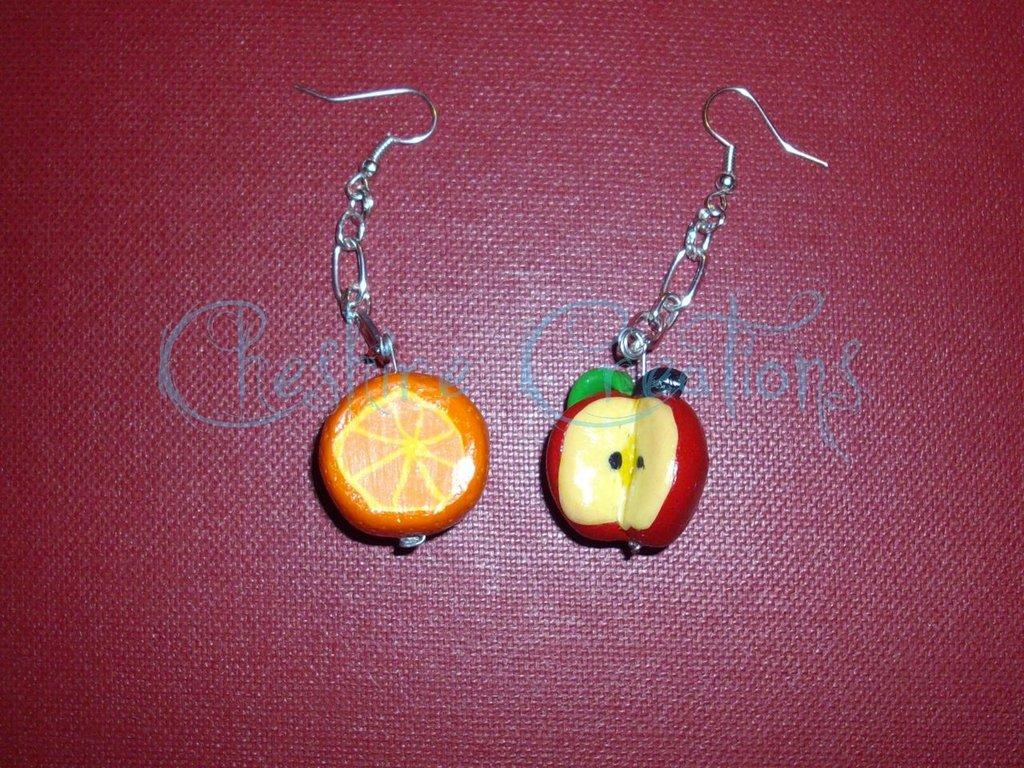 orecchini pendenti arancio e mela