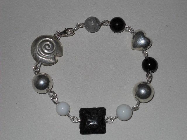 braccialetto argento e pietre