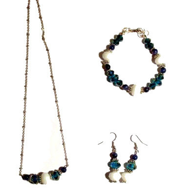 PARURE Ottanio - bianco-blu