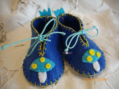 scarpette feltro bambino SHOES BABY BOY BLU FELT MUSHROOM RIBBON