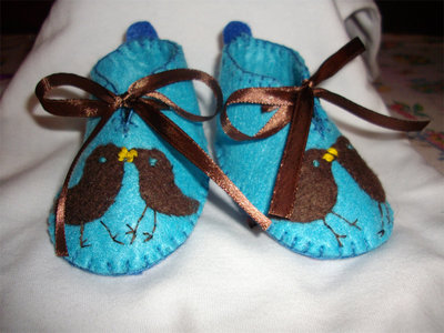scarpette feltro bambino SHOES BABY BOY BLU FELT birds RIBBON