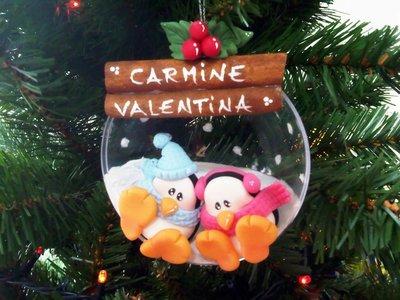 Pallina decorazione albero natale pinguini