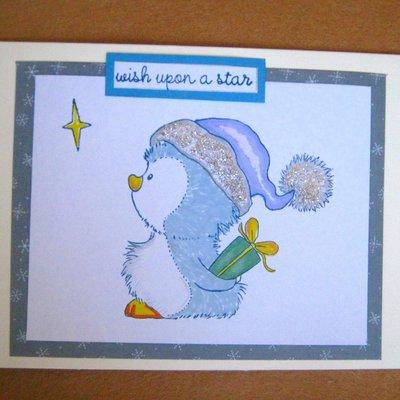 Biglietto natalizio Pinguino con stellina