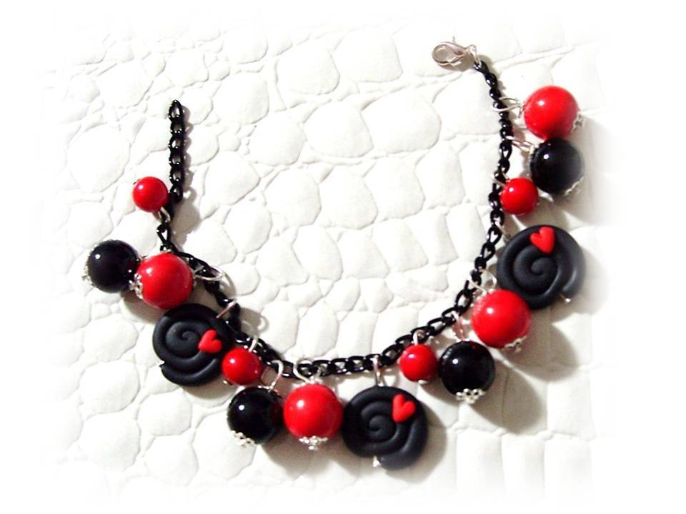 Bracciale liquirizia red- fimo