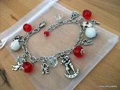 """Bracciale """"San Valentine"""" rosso, bianco, agata, cristalli, argento, cuore, lucchetto, chiave"""